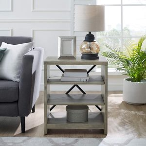 three rack bookshelf farmhouse end table