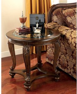 Dark brown round antique end tables