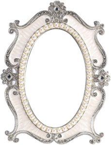 Vintage pearl floral tabletop mirror