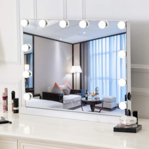 Vintage lighted mirror with dimmable bulbs
