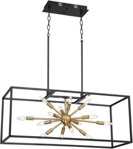 Mid-century broad brass chandelier with black frame