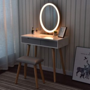 Vanity table set with fluorescent oval mirror