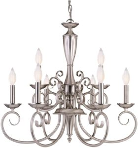 Pewter finish, 9 candelabra light antique chandelier