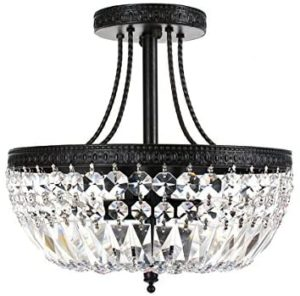 Crystal basket, antique black metal flush ascend chandelier