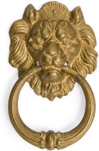 Antique frowning lion door knobs