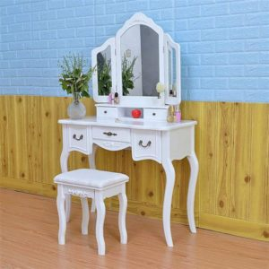 Tri-fold vintage mirror with drawers