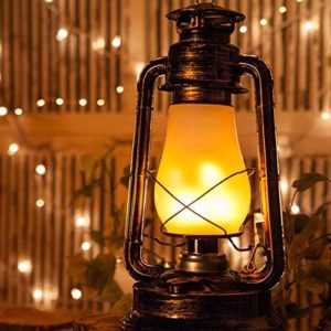 Antique hanging lantern in copper shade with LED