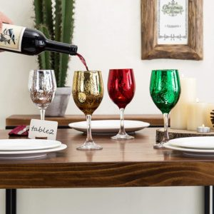 Vintage tailored colorful Christmas wine glasses