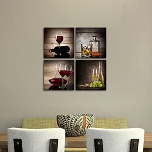 Retro wine glass kitchen art pieces