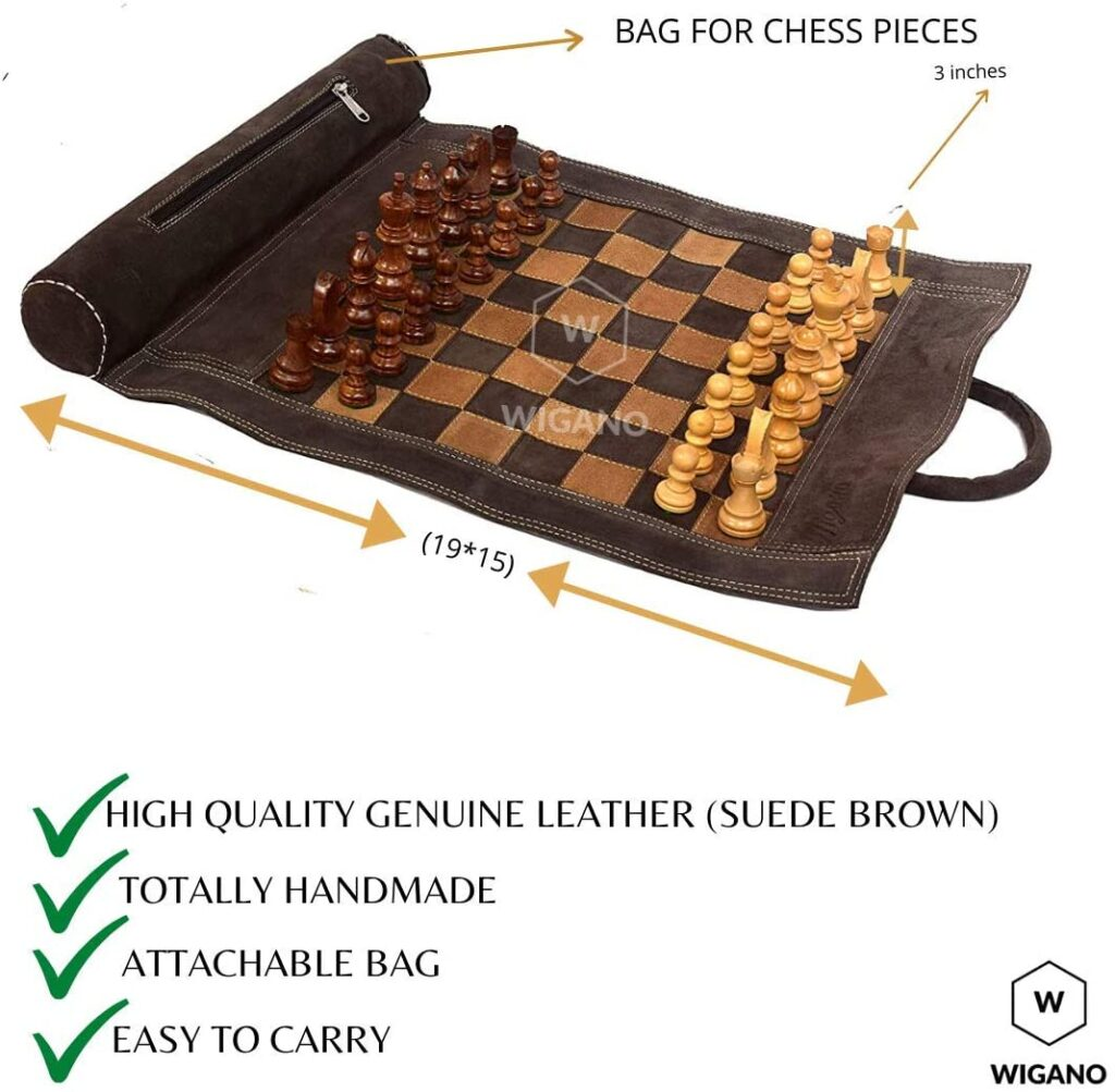 "WIGANO 19""X15"" Vintage Leather Chess Set"